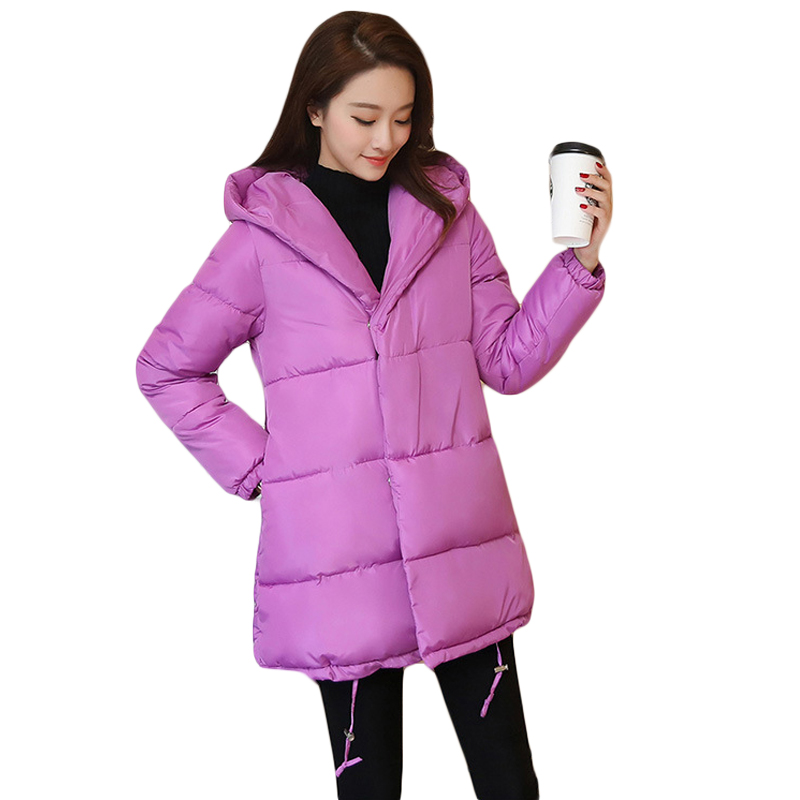 Winter New Women Loose Coat Fashion Cute Parkas Hooded Jacket Overcoat Long Section Casual Down Cotton Large Size Coat CM1560 2017 cheap women winter jacket down cotton padded coats casual warm winter coat turn down large size hooded long loose parkas