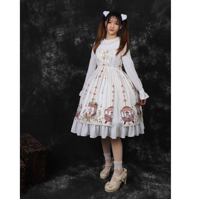 2018 New Women Autumn Long Sleeves O Neck Printing Ruffles Cute Bowknot Sweet Lolita Dress Wholesale Free Shipping
