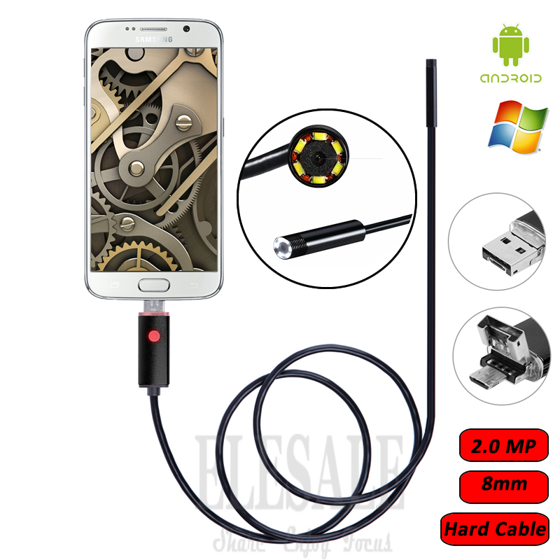 8mm 2.0MP 2M Cable  2-In-1 Android Endoscope Camera Waterproof Borescope Inspection Camera For Android Phone Samsung eyoyo nts200 endoscope inspection camera with 3 5 inch lcd monitor 8 2mm diameter 2 meters tube borescope zoom rotate flip