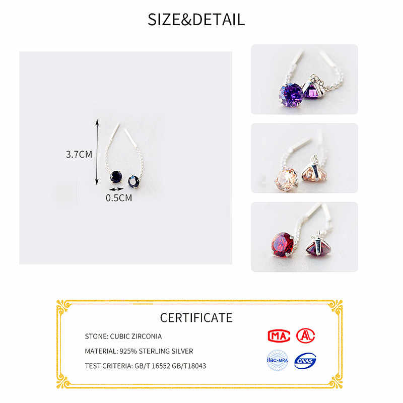 Inzatt 925 Sterling Silver Lima Warna Zircon Crystal Menjuntai Drop Anting-Anting Pendek Rumbai Rantai untuk Wanita Pernikahan Perhiasan
