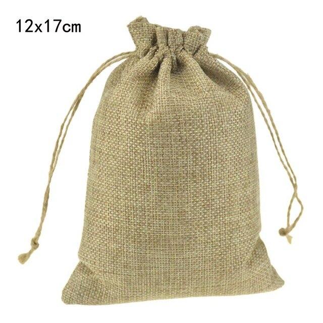 913da57912 12x17 cm personnalisé promotionnel Jute cordon cadeau bijoux paquet sacs  élégant naturel toile de Jute avec
