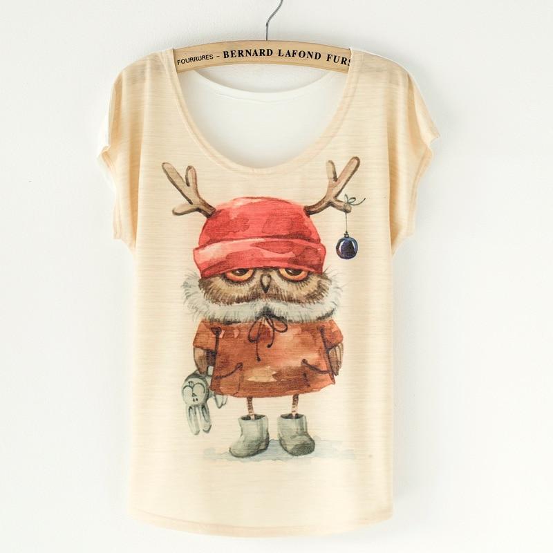 Nové 2019 letní korejské módní tričko dámské styl plus velikost Loose Batwing Sleeve dámské tričko zvíře tisk top Tees