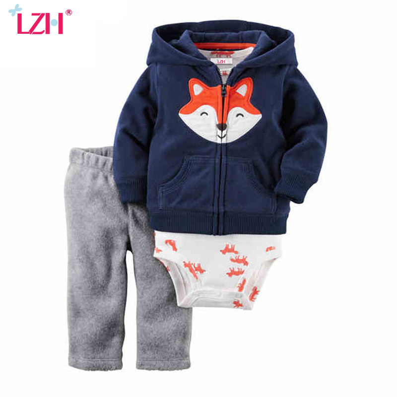 LZH Newborn Clothes 2017 Autumn Winter Baby Boys Clothes Set Long Sleeve Coat+Bodysuit+Pants 3pcs Baby Girl Suit Infant Clothing cotton baby rompers set newborn clothes baby clothing boys girls cartoon jumpsuits long sleeve overalls coveralls autumn winter