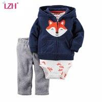 LZH Newborn Clothes 2017 Autumn Winter Baby Boys Clothes Set Coat+Bodysuit+Pants 3pcs Baby Girls Christmas Suit Infant Clothing
