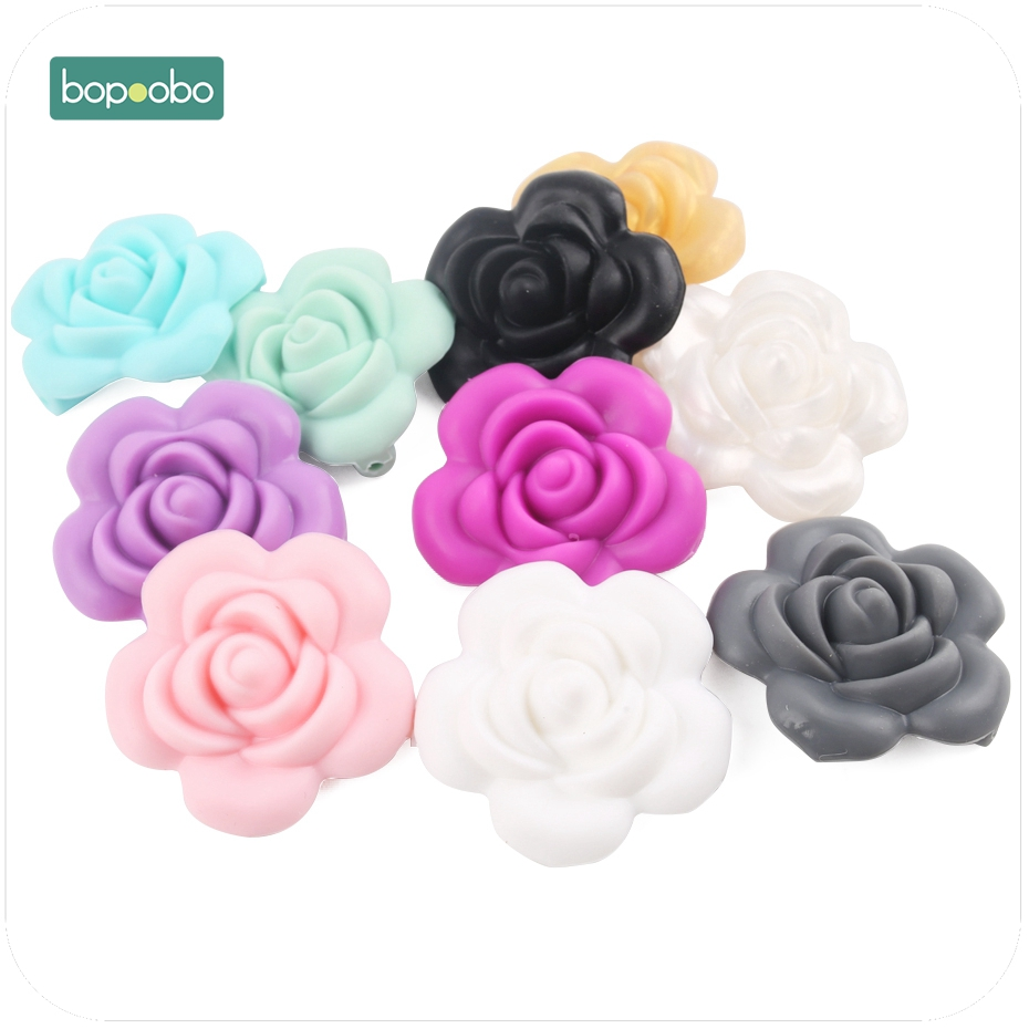 Bopoobo Baby Accessories 1pc Silicone Rose Beads Flower Food Grade Teether DIY Nursing Jewelry Sensory Chewing Toy Baby Teether