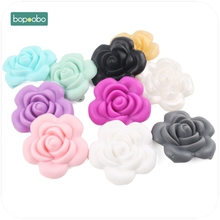 Bopoobo Baby Accessories 1pc Silicone Rose Beads Flower Food Grade Teether DIY Nursing Jewelry Sensory Chewing Toy Baby Teether bopoobo 10pcs silicone beads food grade silicone star teether baby products silicone rodent bracelet diy crafts baby teether