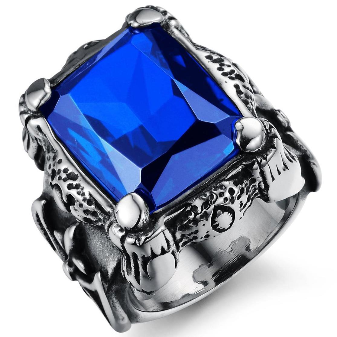 FntYcm Viking Silver Ax Signet Design Biker Wedding Rings For Trendy Men Stainless Steel Motor Ring Band Blue Crystal Male Ring