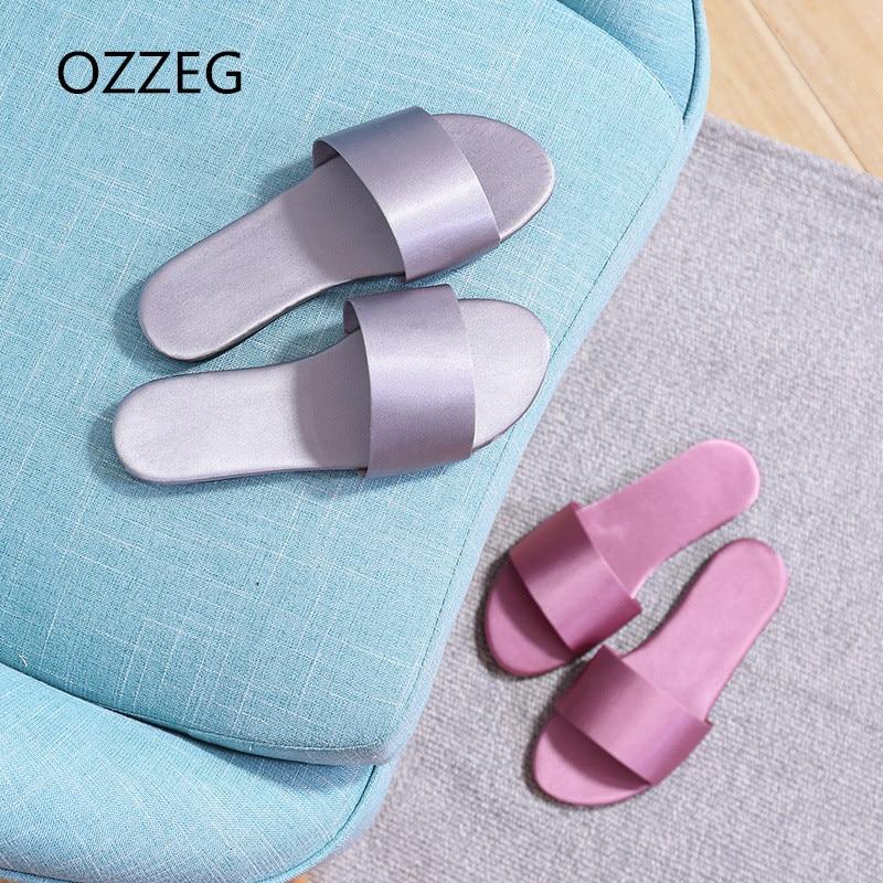 Для женщин Летние тапочки модные шлепанцы на плоской подошве домашние тапочки обувь для помещения для Для женщин