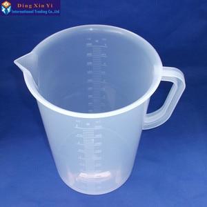 Image 2 - 1 pz 5000 ml di misurazione di plastica lab becher con maniglia Trasparente di Plastica Bianca Tazza Di Misurazione Becher