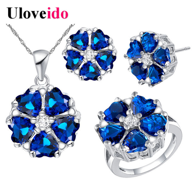 Uloveido 8 Colors Flowers Silver Wedding Jewelry Sets for Women Bridal Gift Fashion Blue Necklace Earrings Anel Jewelry Set T560