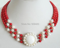W&O655 >3 Rows Genuine Red Coral White Pearl Sun Flower Pendant 18KWGP Clasp Necklace