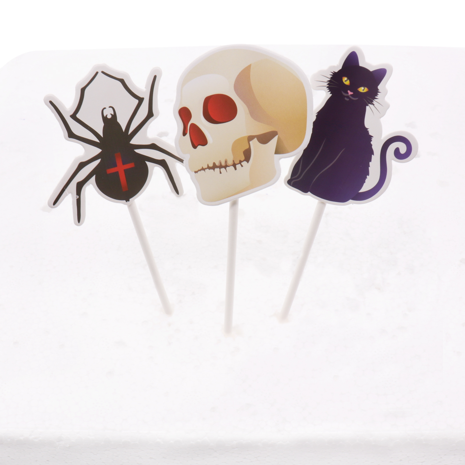 3pcs/pack Halloween Decoration <font><b>Cake</b></font> <font><b>Toppers</b></font> Spider <font><b>black</b></font> <font><b>Cat</b></font> skull bat ghost witch Hat for Halloween Party DIY Supplies image