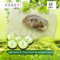 AAA Grade 10pcs Akoya Light Green Skittle Pearls In Oysters With Vacuum Packing Colorful Round Beads