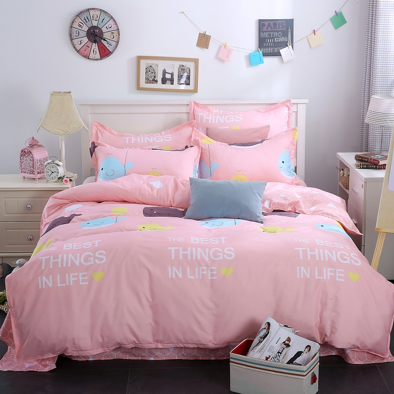 Egyptian Cotton Bedclothes Grey Blue Pink High Quality Bedding Set Duvet  Cover+bed Sheet +Pillowcase Wedding Gifts Bed Linens