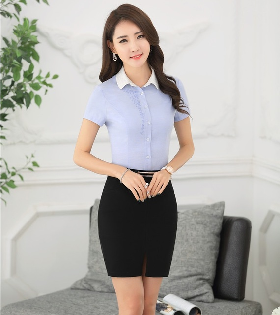 New Arrival 2016 Summer Short Sleeve Professional Business Suits Tops And Skirt Female Shirts Outfits Sets Female Work Wear
