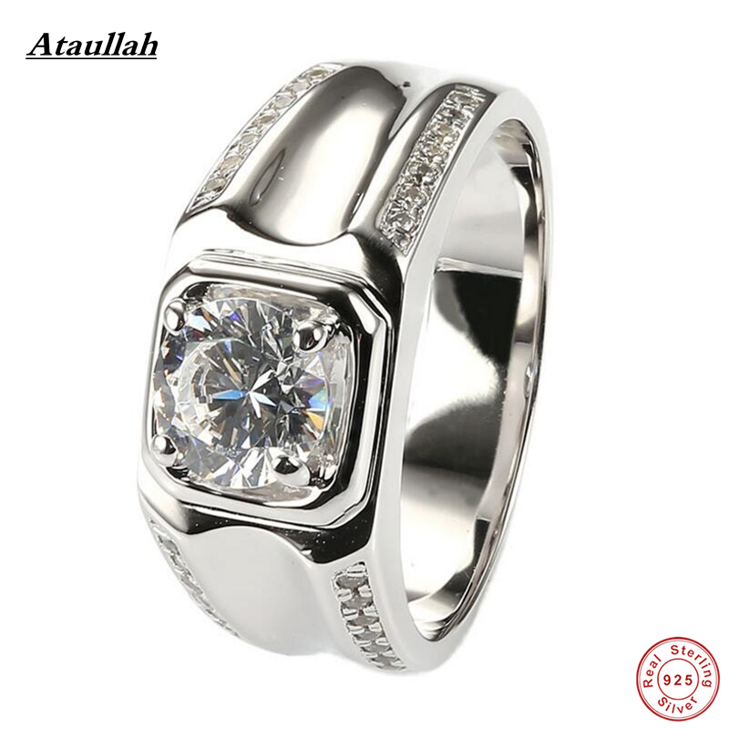 Ataullah 1 Carat Gold Plated 925 Sterling Silver SONA/NSCD Lab Made Diamond Rings for Men Wedding Silver Ring Jewelry RWD884