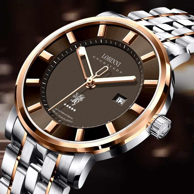Schweiz LOBINNI Top Luxus Marke Uhren Männer Sapphire relogio Japan MIYOTA 9015 Automatische Mechanische männer Uhr L5001-1
