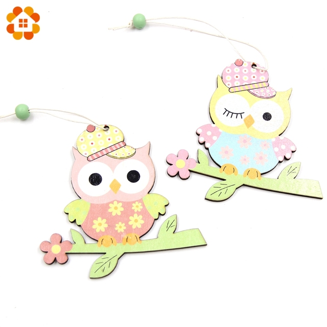 2pcs Lovely Birds Wooden Ornaments Spring Style Diy Wood Crafts Home