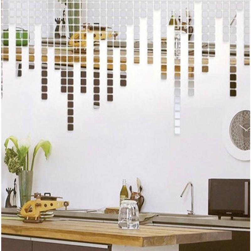 100 pçs 2*2 cm acrílico espelho adesivos de parede decalque quadrado mosaico quarto adesivo de parede para crianças quartos decoração para casa