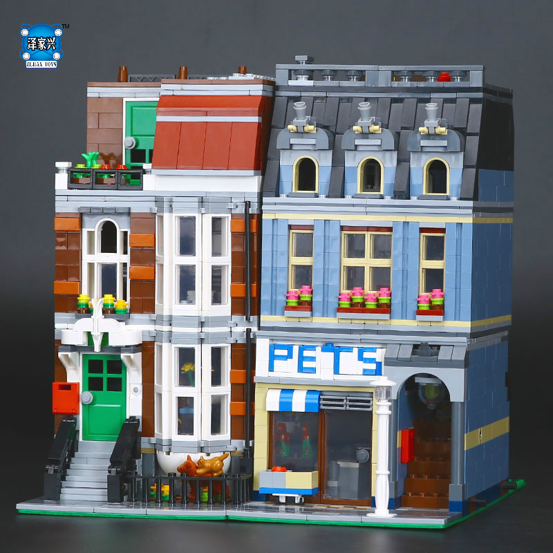 New Pet Shop Supermarket Model City Street Building Blocks Compatible lepines Figures Toys for Children Educational Toy Gifts lepin 15009 city street pet shop model building kid blocks bricks assembling toys compatible 10218 educational toy funny gift