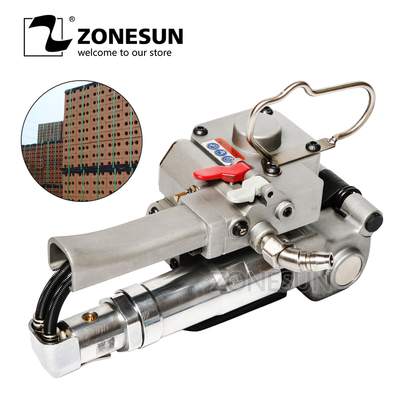 ZONESUN New Pneumatic Pet Plastic PP Strapping Tool XQD-25 PET Box Carton Strapping Machine For 12-25MM (TENSION>=3000N)