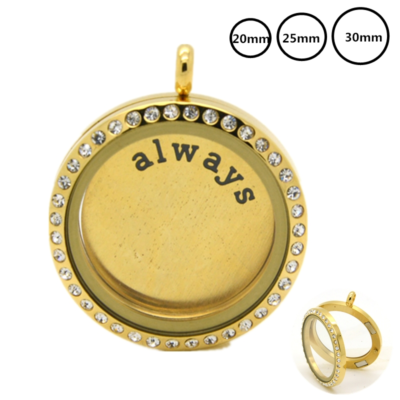 20 25 30MM Gold Magnetic Glass Locket Stainless Steel Floating Charms Living Memory Necklace Locket Pendants For Christmas Gift in Pendants from Jewelry Accessories