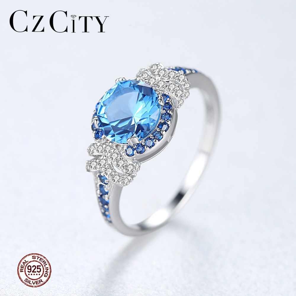 CZCITY Big PURE 925 Sterling Silver Sapphire แหวนพลอยสำหรับผู้หญิงเครื่องประดับ Fine Luxury หมั้นงานแต่งงานอุปกรณ์เสริมของขวัญ