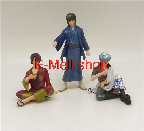 Figurine ORZ animé Gintama Sakata Gintoki Shimura Shinpachi figurine Action âme en argent modèle collégial jouet livraison gratuite 3 pièces/ensemble