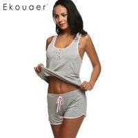 Ekouaer Kadın Kısa Seksi Pijama Tank ve Kaşkorse Cami Set Yeni Bahar ve Yaz Ev Mobilya giyim Pamuk Gecelik Suit