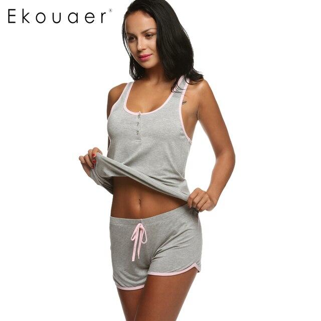 Ekouaer Women Short Sexy Pajamas Short Sleeve Camisole Cami Set New Spring Summer Home Furnishing clothing Cotton Nightwear Suit