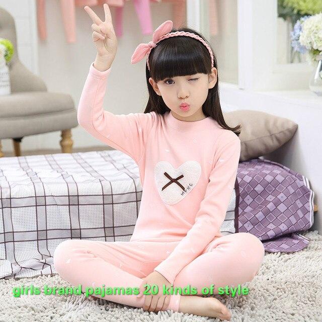 2016 новый сладкий дети костюм для девочек зимняя одежда 2-14 год дети бренд нижнего белья новорожденных девочек хлопок теплый пижамы 26146ab