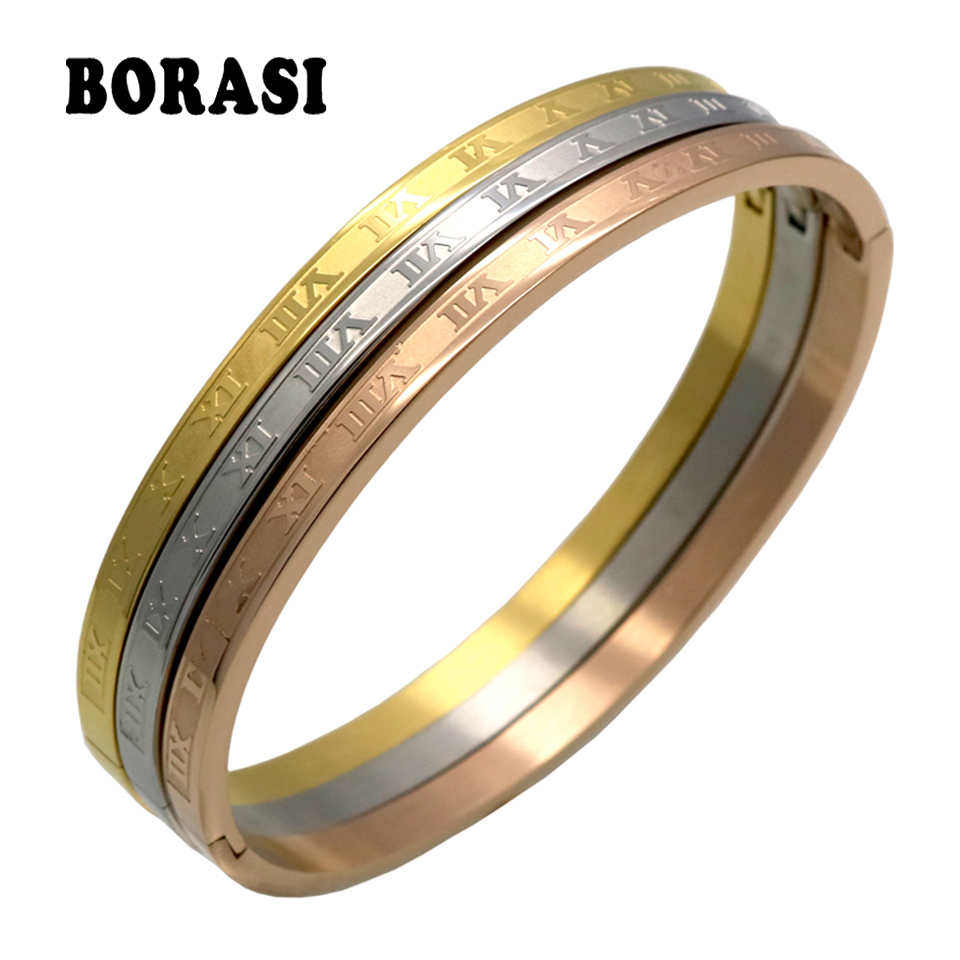(3pcs/set) 316L Stainless Steel Carving Roman Numerals Fashion Bracelets & Bangles Fine Jewelry Wedding Couple Jewelry For Women
