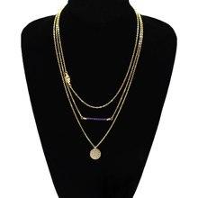 Fashion Round Sequins Palm Pendant Tassel Chain Necklace Women Multilyaer Choker Jewelry