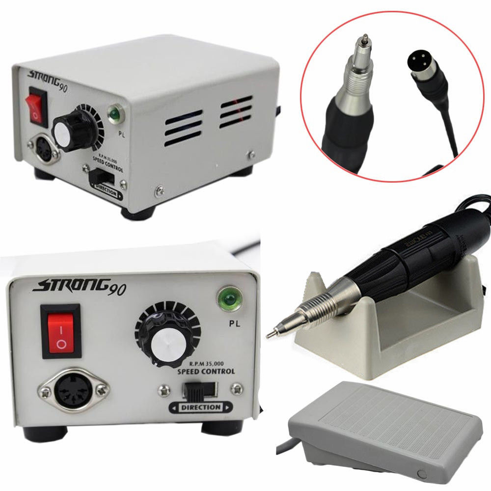 Dental Lab Micromotor Marathon Strong 90 Micro Motor+35K RPM Polisher Handpiece 50 000 rpm non carbon brushless aluminium shell dental micromotor polishing unit with lab handpiece dental micro motor