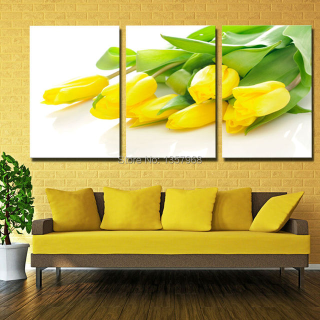 3 Panel Large Modern Wall Art Yellow tulips Flowers canvas prints ...
