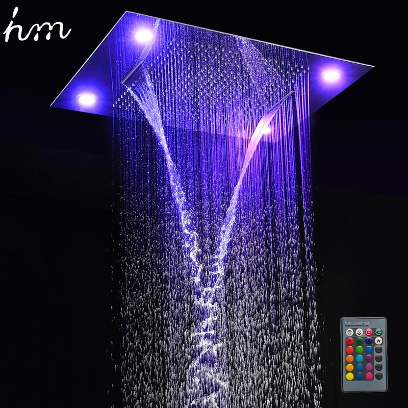 hm Multi Function Led Light Shower Head 600800mm Ceiling Rain Shower Remote Control LED Rainfall Waterfall Massage Shower Heads (4)