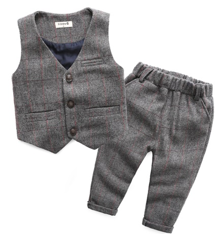 ФОТО 2017 Spring New children's leisure clothing sets 2pcs kids baby boy suit vest gentleman clothes for weddings formal clothing