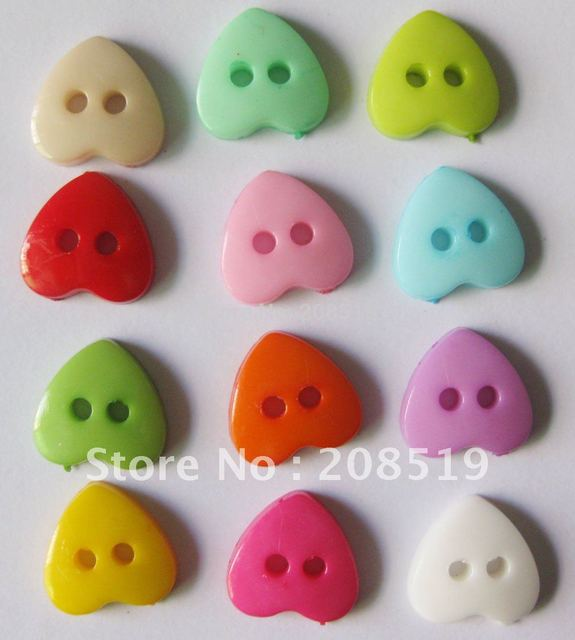 NB0013 Plastic Nylon Buttons 12mm Heart shape 600pcs mixed colors randomly Fashion Buttons for Craft