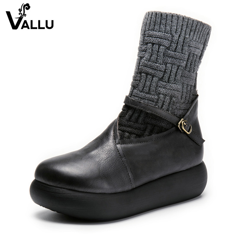 2018 VALLU New Leather Shoes Women Ankle Boots Round Toes Buckle Zipper Handamde Vintage Flat Platform Ladies Boots 2018 vallu new leather shoes women ankle boots round toes buckle zipper handamde vintage flat platform ladies boots