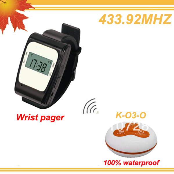 433.92MHZ Waiter buzzer call system w 2 water resistent wrist pager and 20 CALL,BILL,CANCEL DHL free shipping free