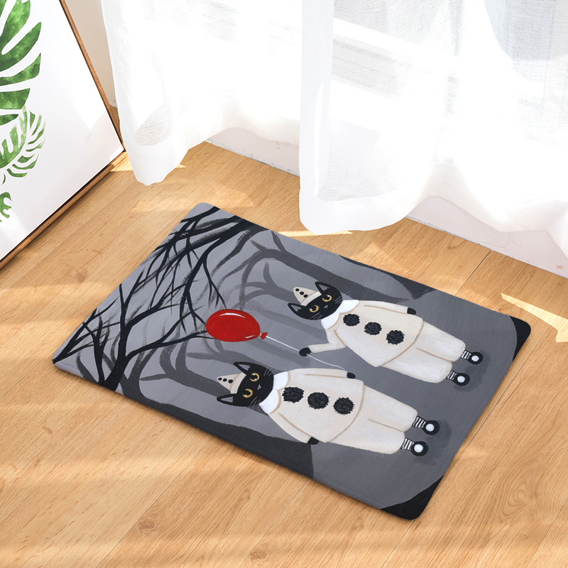 Welcome Floor Mat Halloween Cat 2 Printing Flannel Entrance Carpet 40x60cm  50X80CM Kitchen Rug Bathroom Non