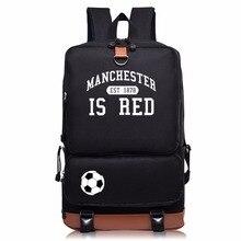 2017 neue Druck rucksack Manchester Rucksäcke Leder Gürtel dekoration Nylon Schultaschen für Jugendliche