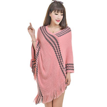 Herbst Winter Frauen Pullover Lose Schal Plaid Stitching Unregelmäßige Tops Poncho Schal Umhang Mantel Pullover Frauen Cothing(China)