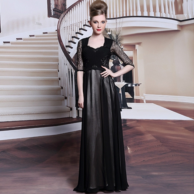 New style floor length chiffon formal gowns solid color half sleeve ...
