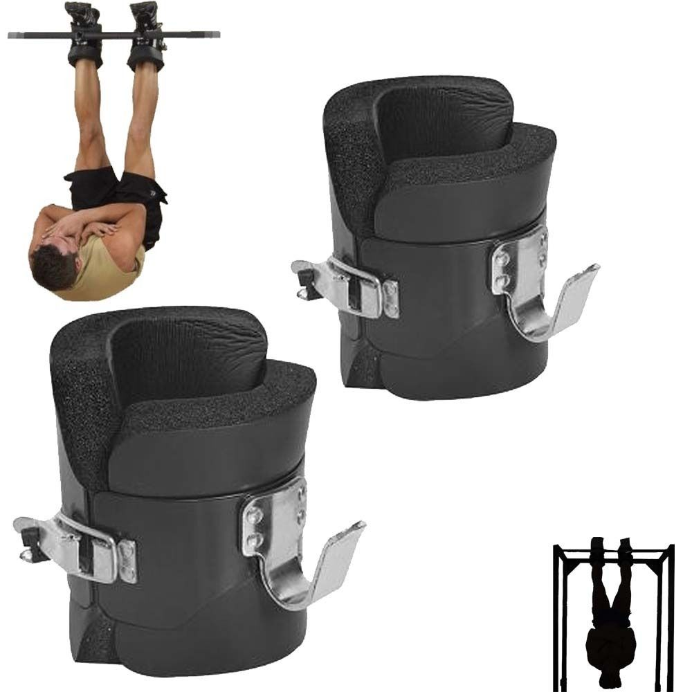 Fitness Padded Gravity Boots Safety Locking Mechanism Ankle Hooks Abdominal Workout Training Hang Up Ab Gym Equipment