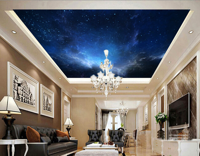 Custom wallpaper murals ceiling, the night sky for the living room bedroom ceiling wall waterproof papel de parede custom ceiling wallpaper blue sky and white clouds murals for the living room apartment ceiling background wall vinyl wallpaper