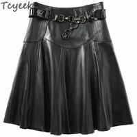 Tcyeek Genuine Leather Skirts Womens Saia Midi Skirt Plus Size Pleated Skirt Sheepskin Spring Faldas Mujer Moda 2020 LWL1593