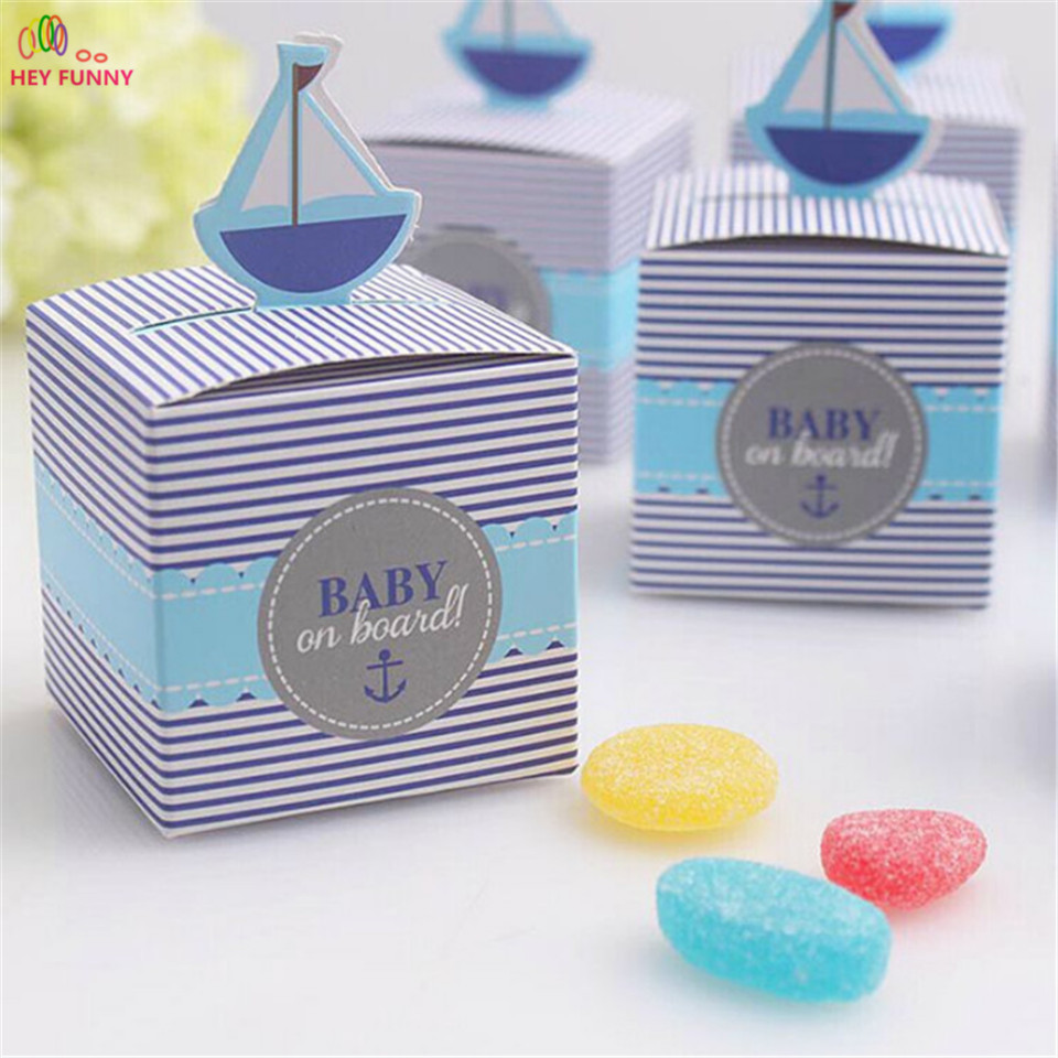 10pcs Baby On Board! Pop-Up Sailboat Moustache Baby Candy Box Blue Birthday Party Baby Shower Decorations Kids Favor Gift Box ...