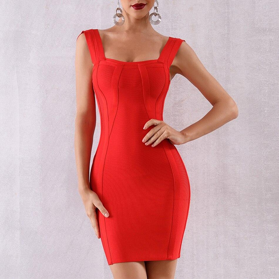 Couturière nouvelle robe Bandage Bobycon femmes sans manches Sexy Mini rouge célébrité robes de soirée Vestidos Clubwear robe d'été 2019