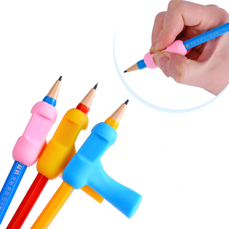 Pupils T-sharp pencil grip corrective device writing skill with a pencil holding posture correction silica gel topper stationery factors influencing pupils performance